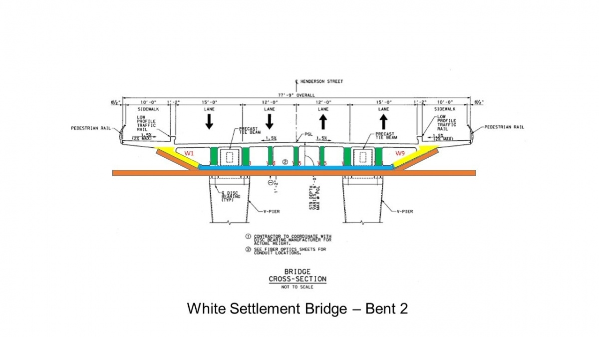This diagram represents the four major pours completed on the west end of the bridge. The final pour will be the bridge deck / roadway.