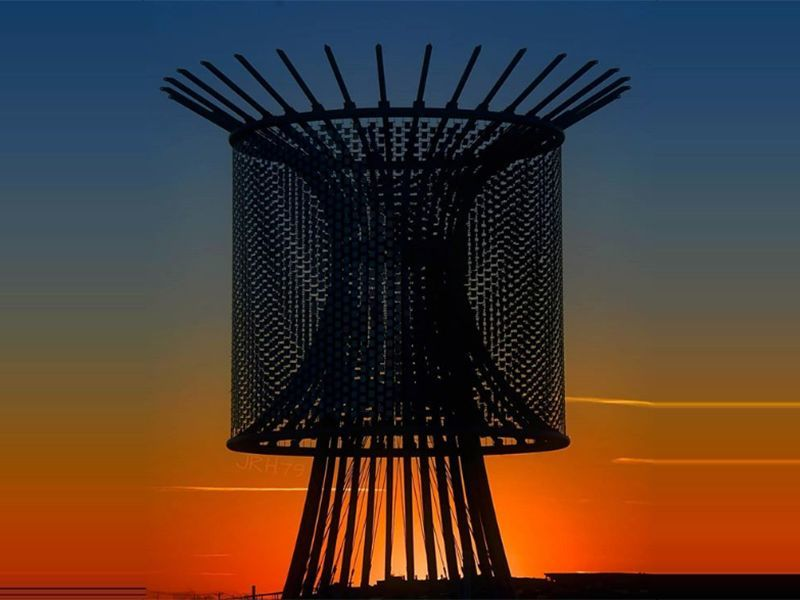 """Fort Worth Public Art Piece, """"Wind Roundabout"""", on Panther Island"""