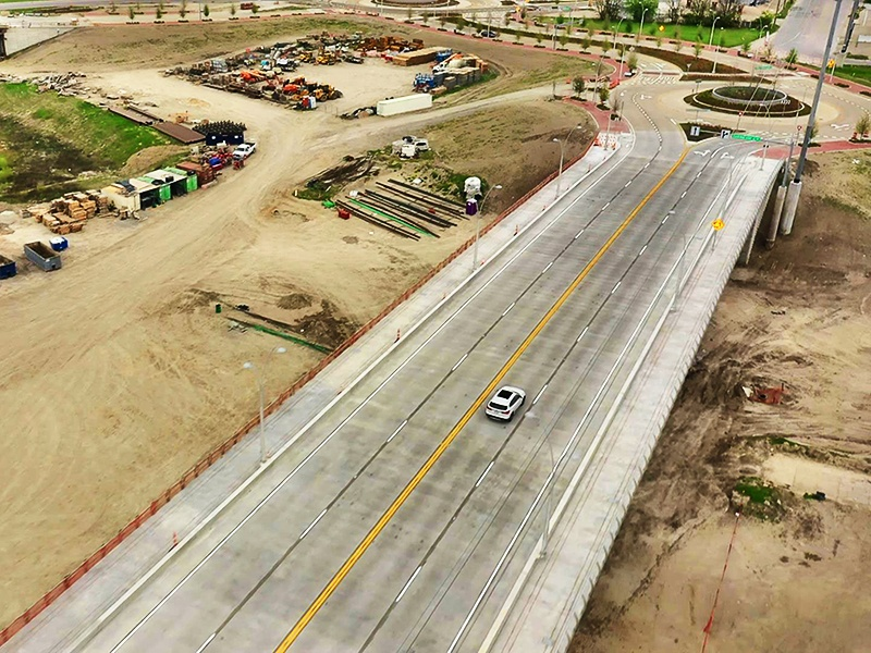 First Of Three Signature V-Pier Bridges Open To Traffic