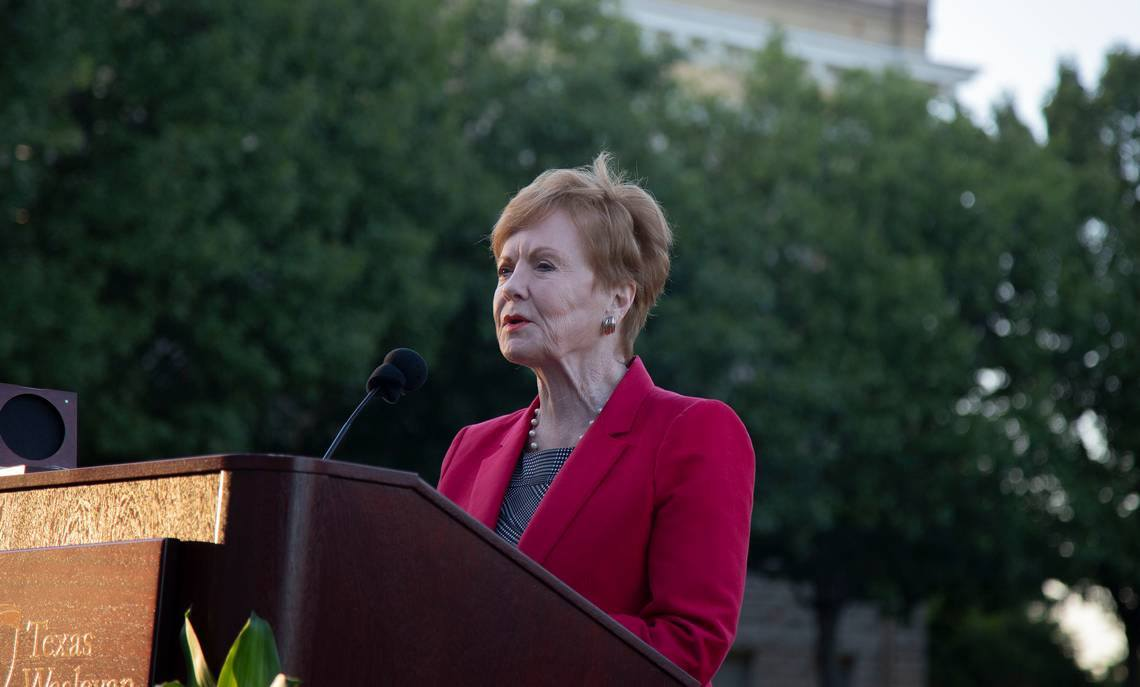 In this 2019 file photo, U.S. Rep. Kay Granger, R-Fort Worth, speaks at Texas Wesleyan University as the university names a green space after her. Image: James Hartley