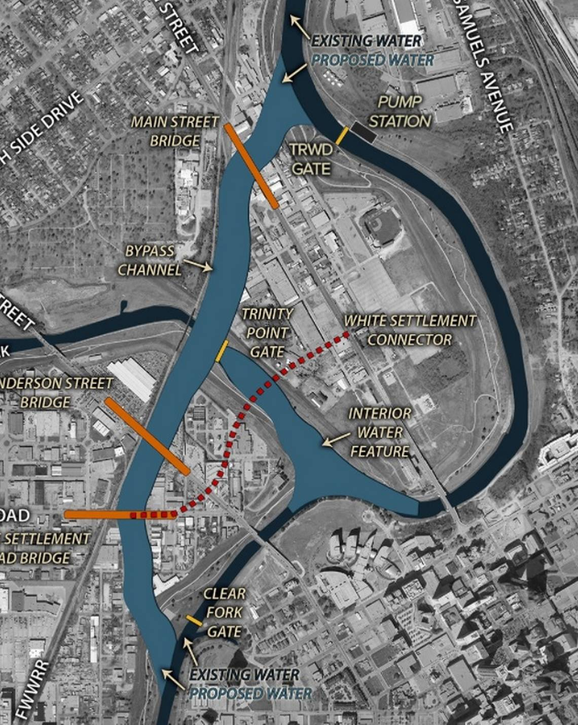 This map shows the route of the bypass channel that would create Panther Island, just north of downtown Fort Worth. Image: Panther Island/Central City Flood Project